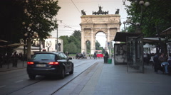 Milan's famous vintages trams at Arco Della Pace ,UHD 4K, real time Stock Footage