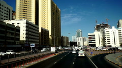 Modern cityscape view by bus in Sharjah, UAE Stock Footage