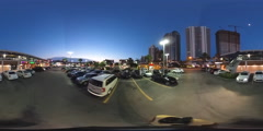 360 motion footage of a shopping plaza at night Stock Footage