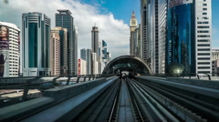 Modern cityscape view by metro in Dubai, UAE Stock Footage