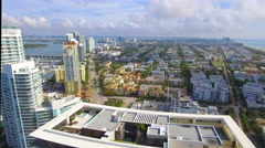 Flying over a building in Miami Beach Stock Footage