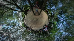 360Vr Video Dad Holding a Kid Running on Cylinder Playground Ciy Day Opole Kids - stock footage