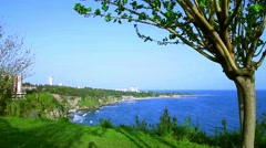 Place in the Mediterranean sea. Turkey, near the waterfall Duden Stock Footage