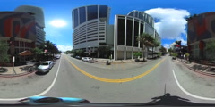 360 spherical video Flagler Street Downtown Miami Stock Footage