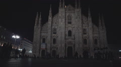 Illuminated street attraction Nightlife in Milan,ULTRA HD 4K, real time Stock Footage