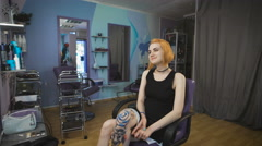 Emo hipster girl with a tattoo in a beauty salon Stock Footage