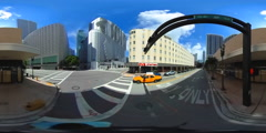 360 spherical video streets of Downtown Miami Stock Footage