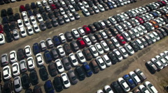 Aerial view of storage parking with new unsold cars Stock Footage