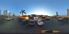 360 vr spherical video of a RK Shopping Plaza at dusk Stock Footage