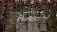 Monument to Fallen Heroes on a Background of Stone Wall Outside Stock Footage