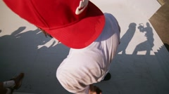 Skater jump from stairs, make flip, get spill at summer festival. Audience Stock Footage