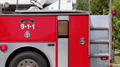 firetruck side tail with lights - stock footage