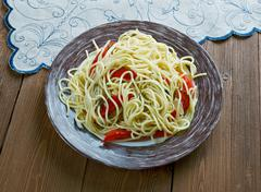 Spaghetti with Spanish flavours Stock Photos
