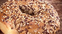 Portion of Wholemeal Bagels (seamless loopable; 4K) Stock Footage