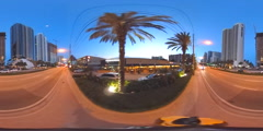 Cyclists pov riding on a sidewalk at dusk 360 VR spherical video Stock Footage
