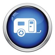 Camping family caravan car  icon - stock illustration