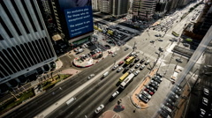 Timelapse and aerial view of the transportation in the downtown of Abu Dhabi Stock Footage