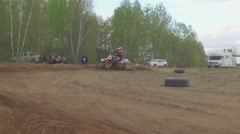 Motocross dirtbike berm corner slow motion Stock Footage