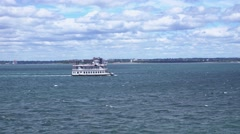Sightseeing Tour Boat on Boston Harbor Stock Footage
