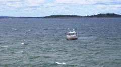 Fishing Boat on Boston Harbor Stock Footage