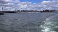 View of Boston Harbor from Rear of Tourboat Stock Footage