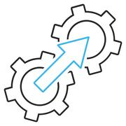 Gear Integration Outline Vector Icon - stock illustration