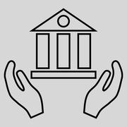 Bank Service Outline Glyph Icon Stock Illustration