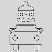 Car Shower Outline Glyph Icon Stock Illustration