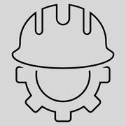 Development Hardhat Outline Glyph Icon - stock illustration