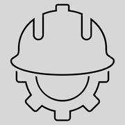 Development Helmet Outline Glyph Icon - stock illustration