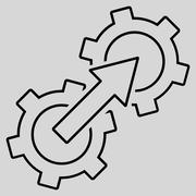 Gear Integration Outline Glyph Icon - stock illustration