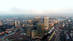 4K Aerial Footage Above The Towers Of London's Financial District, Canary Wharf - stock footage