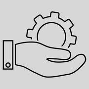 Service Outline Glyph Icon - stock illustration