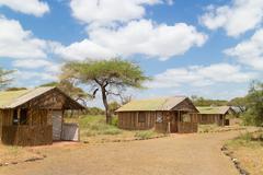 Traditional african safari tourist lodge. Stock Photos