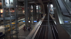 ULTRA HD 4K real time shot,interior of Berlin central train station Stock Footage