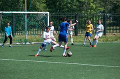 Orenburg, Russia - 12 June 2016: Girls play mini soccer - stock photo