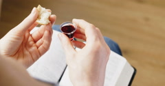 Communion or Eucharist - stock footage