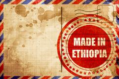 Made in ethiopia, red grunge stamp on an airmail background Stock Illustration