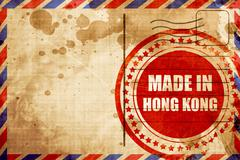 Made in hong kong, red grunge stamp on an airmail background Piirros