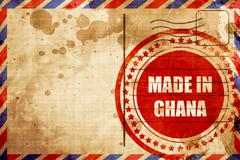 Made in ghana, red grunge stamp on an airmail background - stock illustration