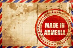 Made in armenia, red grunge stamp on an airmail background Stock Illustration