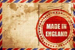 Made in england, red grunge stamp on an airmail background Stock Illustration