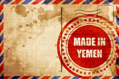 Made in yemen, red grunge stamp on an airmail background - stock illustration