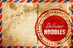 Delicious noodles sign, red grunge stamp on an airmail backgroun Stock Illustration