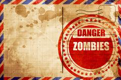 zombie virus concept background, red grunge stamp on an airmail - stock illustration