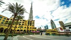 Timelapse of customers wander near Burj Khalifa, Dubai, UAE Stock Footage