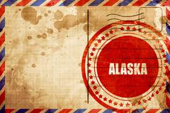 Alaska, red grunge stamp on an airmail background Piirros