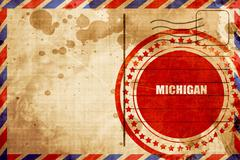 michigan, red grunge stamp on an airmail background - stock illustration