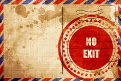 No exit sign, red grunge stamp on an airmail background - stock illustration