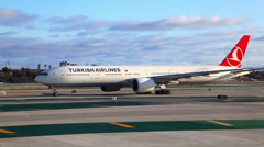 Turkish Airlines jet airplane ready for flight at LAX airport - stock footage